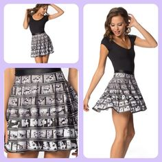 ✨MUSEUM✨ Black Milk Disney Mickey Film Skater Our graphics team captured each individual frame manually and stitched them together to create this skater skirt. Why? Because it was all started by a mouse, and we want you to be able to wear that moment. SOLD OUT IN SMALL (MUSEUM)  Composition: 82% Polyester, 18% Elastane Washing: Machine wash cold, gentle cycle with like colours Made in: Australia Blackmilk Dresses