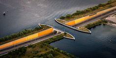 Aqueduct over Dutch road (Aqueduct Veluwemeer, Netherlands)