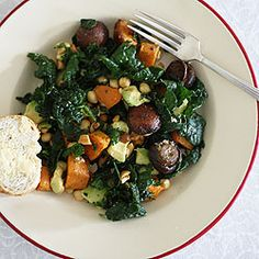 WINTER SALAD WITH MASSAGED KALE, ROAST SWEET POTATO & BROWN MUSHROOMS