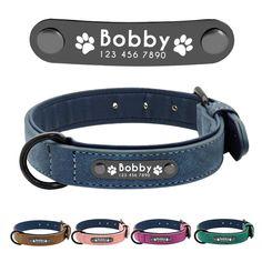 Dog Collars Personalized Custom Leather Collar Pitbull Bulldog Beagle Correa us Custom Dog Collars, Personalized Dog Collars, Puppy Collars, Dog Collar Tags, Collar And Leash, Dog Tags, Beagle, Dogs Pitbull, Pug