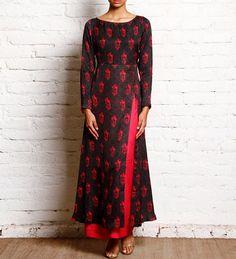 dark blue pink printed front slit kurti
