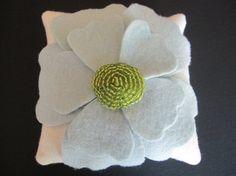 Wedding Ring Bearer Pillow Sea Green Ivory anemone flower choose your colors #ringbearerpillow by ArtisanFeltStudio, $42.00