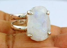 NATURAL RAINBOW MOONSTONE RINGS SOLID SILVER 925 STERLING JEWELRY 7.1 GM US 9 #Unbranded