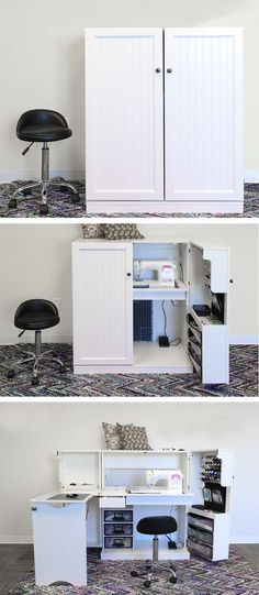 Great Images sewing table for small spaces Suggestions Super Sewing Room Table Small Spaces Ideas Small Closet Storage, Small Closet Space, Small Closets, Beds For Small Spaces, Table For Small Space, Furniture For Small Spaces, Craft Storage Ideas For Small Spaces, Smart Furniture, Space Saving Furniture