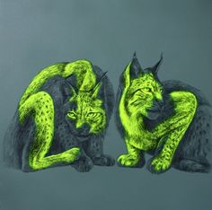 """Saatchi Online Artist: Louise McNaught; Acrylic, 2012, Painting """"Wild Cats"""""""
