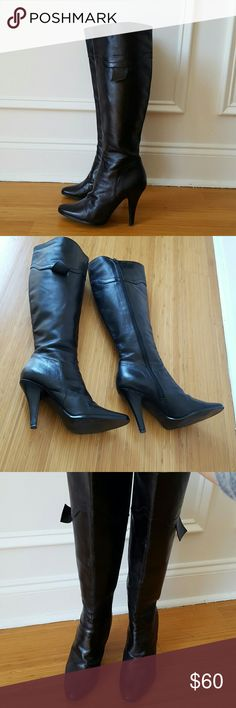 """Tall black boots Great condition. Worn only a few times. 4"""" stiletto heel  pointy toe, knee high. Zippered. Shoes Heeled Boots"""