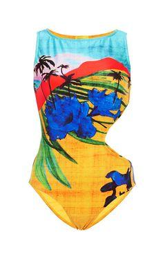 Gaia Printed Cut-Out Swimsuit by Salinas - Moda Operandi