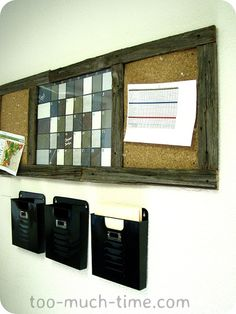 Message center for the kitchen: need a calendar/corkboard area.  This might be a little big, but quite nifty.