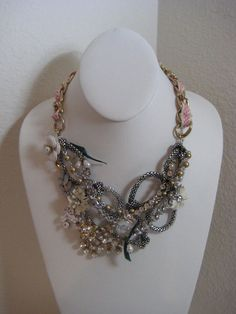 Betsey Johnson Mixed Flower Multi Row Frontal Necklace $145 NWT *Authentic* #BetseyJohnson #Statement