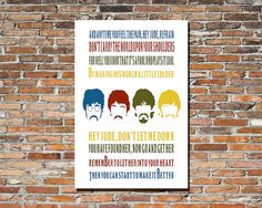 Hey Jude by The Beatles printable wall art  by PrintableSongParts