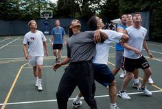 U.S. President Barack Obama, along with Cabinet Secretaries and Members of Congress, watch a shot during a basketball game on the White House court in this handout photo taken in Washington on October 8, 2009 and later released by the White House.  REUTERS/Pete Souza/The White House/Handout via @AOL_Lifestyle Read more: https://www.aol.com/article/news/2017/02/04/poll-more-than-half-of-us-voters-would-rather-have-obama-as-pre/21707015/?a_dgi=aolshare_pinterest#fullscreen