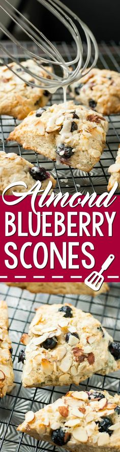 Fluffy Bakery-Style Blueberry Almond Scones - lightened up with almond milk and topped with a lemon glaze --- my family went BONKERS over these!