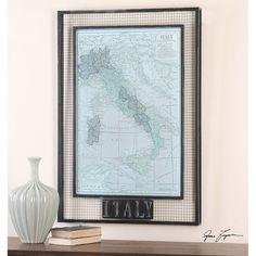 Uttermost Italy Map Framed Art 55021