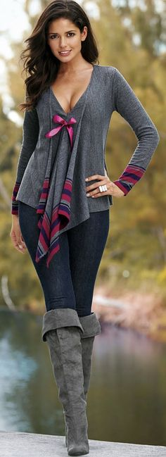 ♥ cute top and love the whole outfit Outfits, Fashion, Front Cardigans, Style, Dresses Pants, Ties Front, Clothing, Grey, Boots
