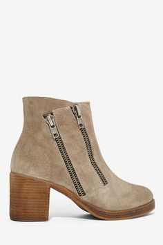 Zipper Suede Ankle Boot