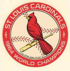 The St.Louis Cardinals won the 1964 world series against the New York Yankees Cardinals Win, Cardinals Players, St Louis Baseball, St Louis Cardinals Baseball, Sports Team Logos, Sports Art, World Series Winners, Circular Logo, Cool Themes