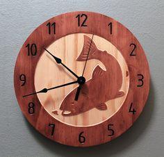 Trout Fish clock Wood clock Wall clock Wooden by BunBunWoodworking