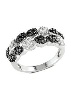 14k White Gold 1/2ct TDW Black and White Diamond Ring GH I1;I6