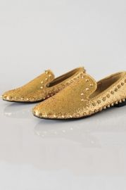 Round Toe Spike Embellished Shiny Flats - Shoes