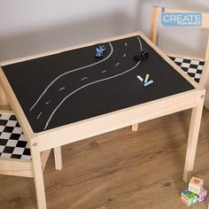 """Create Your World Ltd on Instagram: """"Convert this inexpensive LATT table and chairs from #ikea into a fun play table using #chalkboard vinyl film and complete with racing…"""" Black Chalkboard, Chalkboard Vinyl, Ikea Furniture Hacks, Sticky Back Plastic, Checker Design, Play Table, Playroom Design, Ping Pong Table, Table And Chairs"""