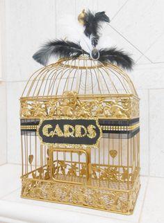 Large Gold Wedding Birdcage Card Holder / Wedding by ThoseDays