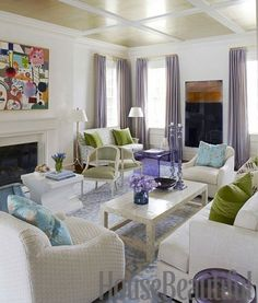 The Impact of Art - Design Chic- great abstract art in the living room and love the lavender touches