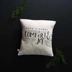 "Designed in Waco and made in the USA, our ""Good Tidings"" Pillow quotes the popular Christmas carol ""God Rest Ye Merry Gentlemen"". Use it as an essential piece o"