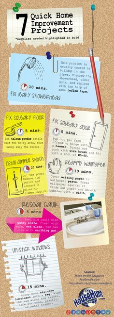 7 Quick Home Improvement Projects #Infographic : http://www.househunt.com/news-realestate/7-quick-home-improvement-projects/