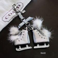 NEW COACH Keychain 3D ICE-SKATE SHOE Bow Leather Mink Fur Charm Key Fob NEW