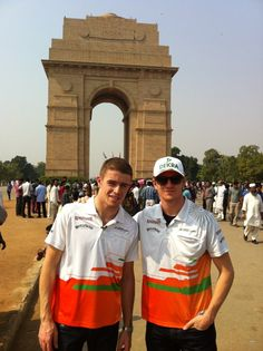 #F1 @clubforce's @pauldirestaf1 and @NicoHulkenberg at India Gate | 2012