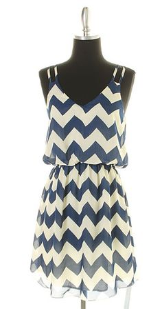 My fine day navy chevron dress