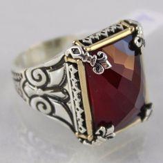 925 Sterling Silver Turkish  Jewelry Handmade Ottoman Style Ruby Men Fine Ring #Handmade #Statement