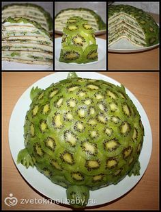 This is so weird looking, but I love kiwi and the inside lookso good! Kiwi Turtle Fruit Cake - Have you ever seen a Turtle Kiwi Cake. Raw Vegan Desserts, Vegan Dessert Recipes, Raw Food Recipes, Vegan Raw, Yummy Recipes, Dinner Recipes, Cute Food, Good Food, Yummy Food