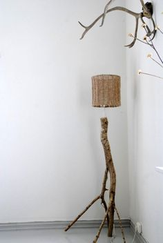 DIY floor lamp made from a branch with a knitted lampshade. Just one of the many things I'll be making for our house
