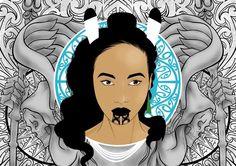 """Mauri Ora"" by Onesian aka Allen Vili. Illustration of a Maori girl, with black tattoo moko on chin, and traditional native NZ bird feathers in hair. Maori Designs, Henna Designs, Polynesian Art, New Zealand Art, Nz Art, Maori Art, Kiwiana, Goddess Art, Types Of Art"