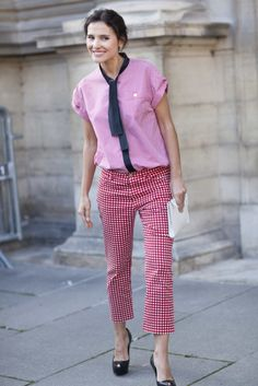 Très Chic! The Best Street Snaps at Paris Fashion Week: The surest way to make the menswear trend work for her? Doing it in shades of pink, of course.