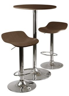 Cappuccino / Metal Kallie 3-pc Pub Table and Stools Set in Cappuccino - A.M.B. Furniture & Design