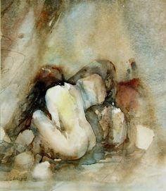 """""""Memory stones"""" ~ Lelie Abadie Watercolor Tips, Watercolor Portraits, Watercolor Paintings, Watercolors, Life Drawing, Figure Drawing, Painting & Drawing, Female Body Art, Western Art"""