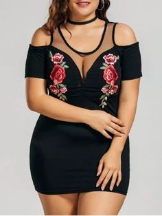 Chic Floral Embroidered Plus Size Cold Shoulder Dress