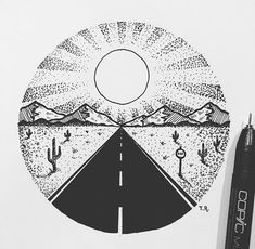 circle drawings drawing simple stippling road sketches tattoo sketch fineliner zeichnungen easy pencil things gossip sunset sunrise sun rooten realistic