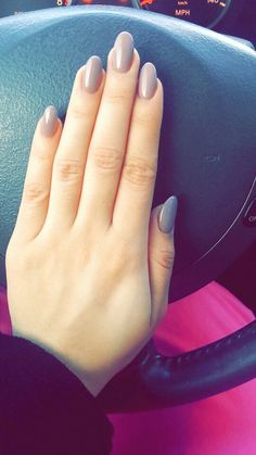Nexgen Almonds nails gel color taupe-less beach. First time trying this and I'm loving it!