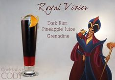 """""""Royal Vizier"""" - dark rum, pineapple juice and grenadine Cocktails by Cody Disney Cocktails, Cocktail Disney, Cocktail Menu, Cocktail Making, Cocktail Recipes, Disney Mixed Drinks, Cocktail Night, Cocktail Ideas, Frozen Drinks"""