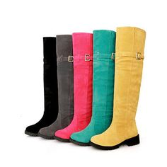 Womens/Girls Knee High Riding Boots Faux Suede Low Heel Shoes Pink Yellow Green