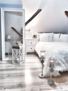 Bedroom bed sypialnia dodatki white interior mirror interior home decorations candles cozy Design Seeds, Modern Country, Living Room Trends, Living Spaces, Ideas Vintage, Cozy Bedroom, Bedroom Bed, Bedrooms, Home By
