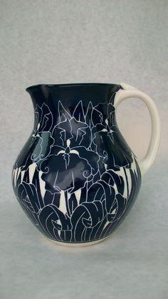 Iris Pitcher. Cobalt pottery