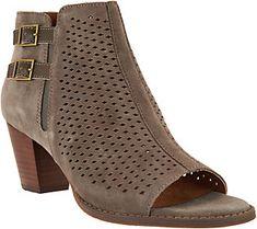 d4c985d0a505 Vionic Orthotic Suede Peep Toe Ankle Boots - Chryssa