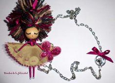 broche con cadena, colección coletas broche con cadena, muñeca/doll brooch madera,tela,pintura totalmente a mano