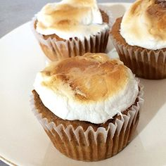 """Sweet Potato Casserole"" Cupcakes: Use cake mix, sweet potatoes, and marshmallows to put on a twist on this classic Thanksgiving Day staple."
