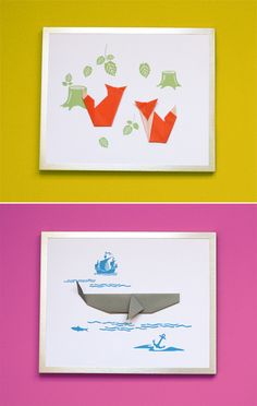 Framed origami animals | How About Orange These are so perfect and you could use anything/animal