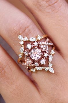 Morganite Wedding Ring, Destiny with two Hermes side bands - bridal rings set amazing ! by silly shiny diamonds #sillyshinydiamonds